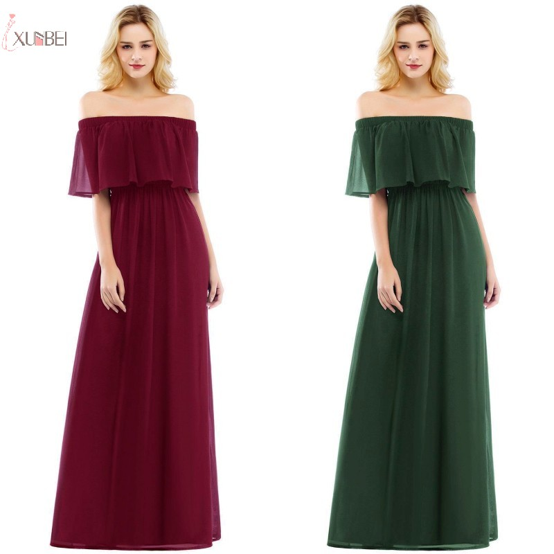 2019 Burgundy Green Silver Chiffon Long   Bridesmaid     Dresses   Off The Shoulder Wedding Party Gown vestido madrinha