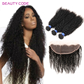 Beauty Code Peruvian Kinky Curly Human Hair Bundles with Ear to Ear Frontal Peruvian Virgin Curly Hair with 13x4 Frontal Closure