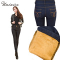 Cheap Korean Warm Winter Women Pencil Pants Jeans Slim Sexy Blue Black High Waist Denim Cowboy Lining Women Pencil Jeans Pants