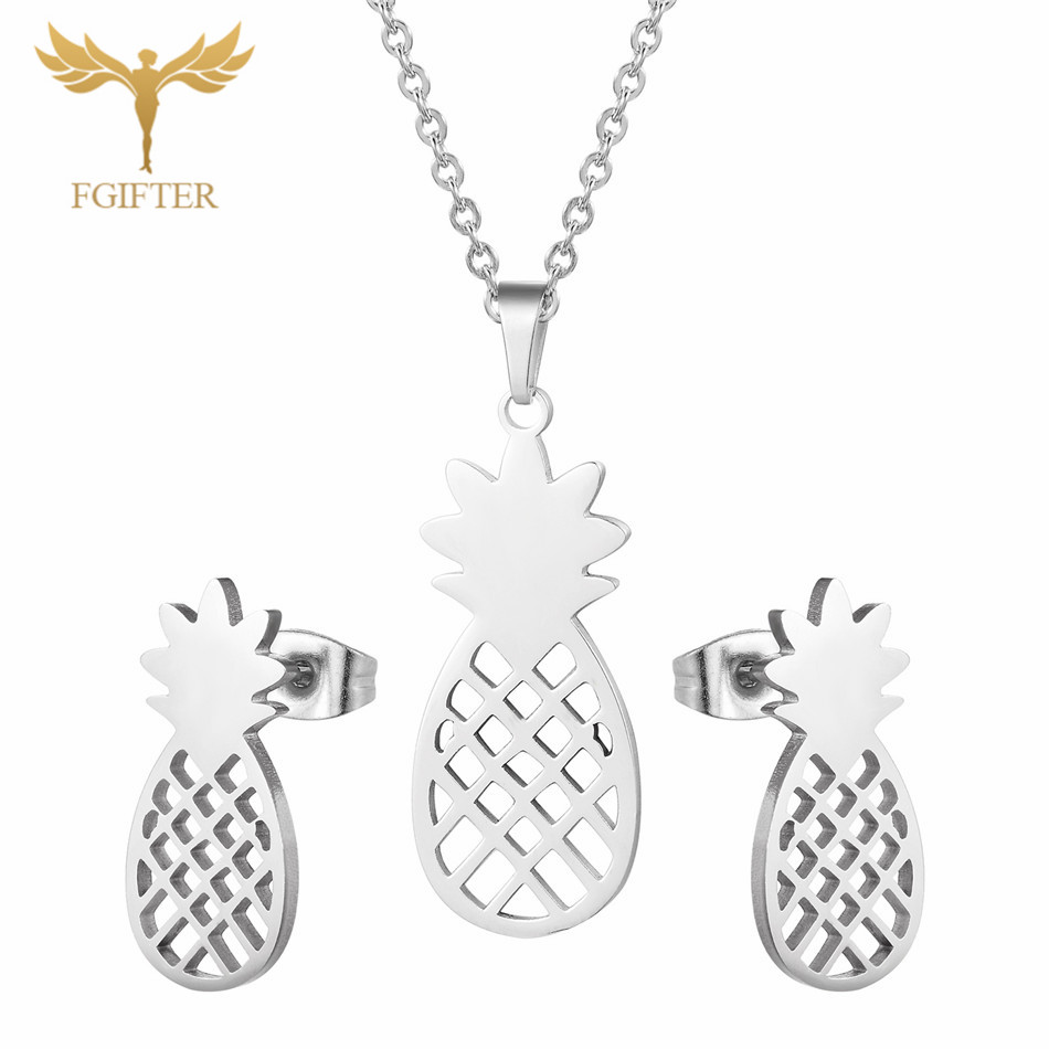FGifter Hollow Pineapple Necklace Pineapple Earrings <font><b>Jewelry</b></font> <font><b>Sets</b></font> <font><b>for</b></font> Girls <font><b>Women</b></font> Silver Color <font><b>Stainless</b></font> <font><b>Steel</b></font> <font><b>Set</b></font> Accessories image