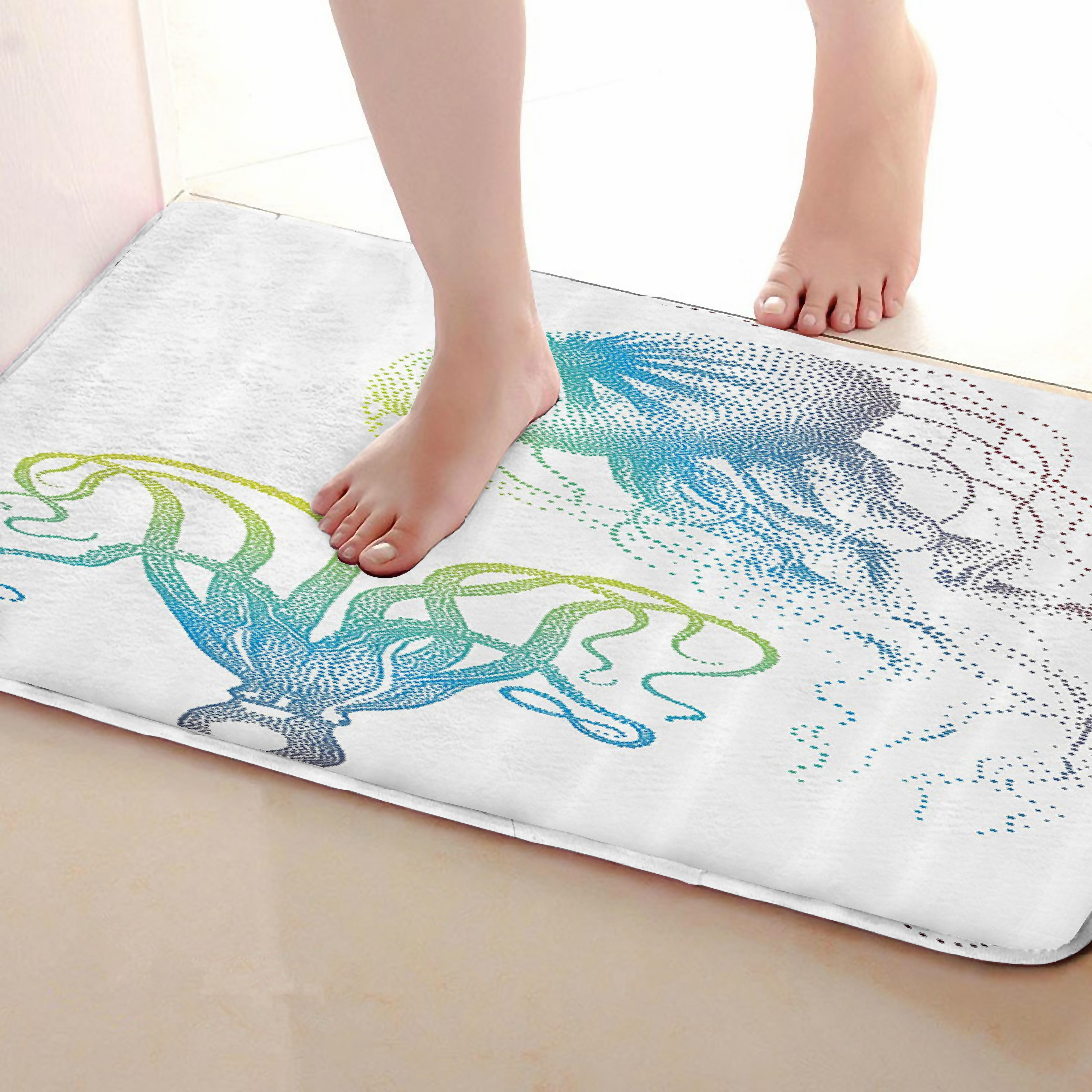 Jellyfish Style Bathroom Mat,Funny Anti skid Bath Mat,Shower Curtains Accessories,Matching Your Shower Curtain