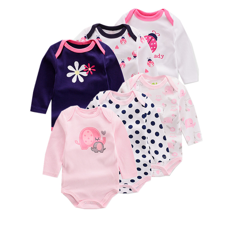 6 peças/lote Verão Bodysuit Menina Bebê Elefante Manga Longa Flor Impresso infantil Macacão Geral Recém-nascidos Roupa Do Bebê Do Algodão