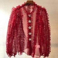 Dressnow elegant blouse summer 2018 red ruffle blouse women long sleeve blouse shirt women