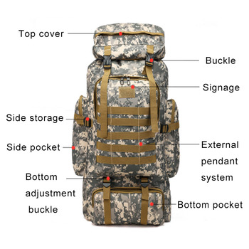 Us Army Rucksack   80L Camping Hiking Tactical Backpacks Millitary Army Rucksack Unisex Waterproof Outdoor Hunting Mountaineering Travel Molle Bags