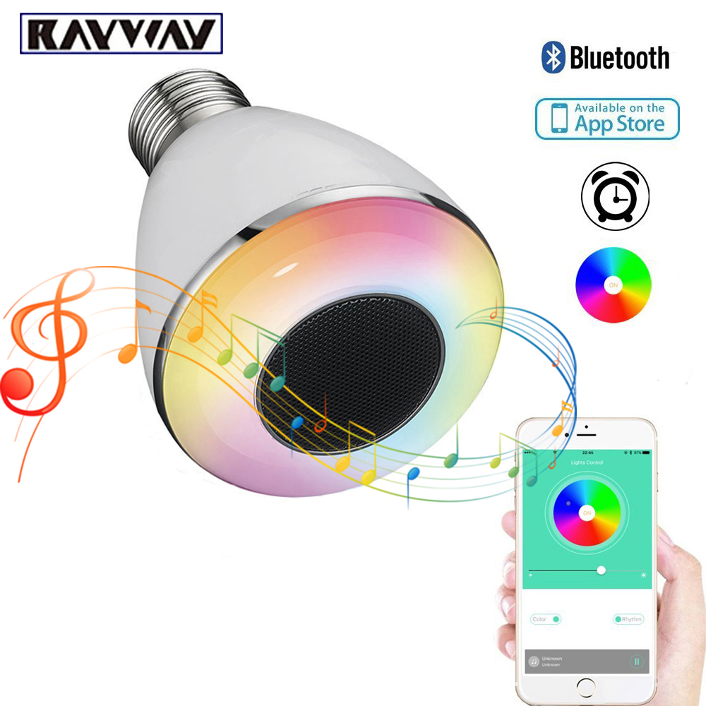Mini 9W E27 LED Lamp bluetooth speaker bulb APP Control led light lamp White + RGB LED Music Bulb Timing Alarm LED Smart Bulb