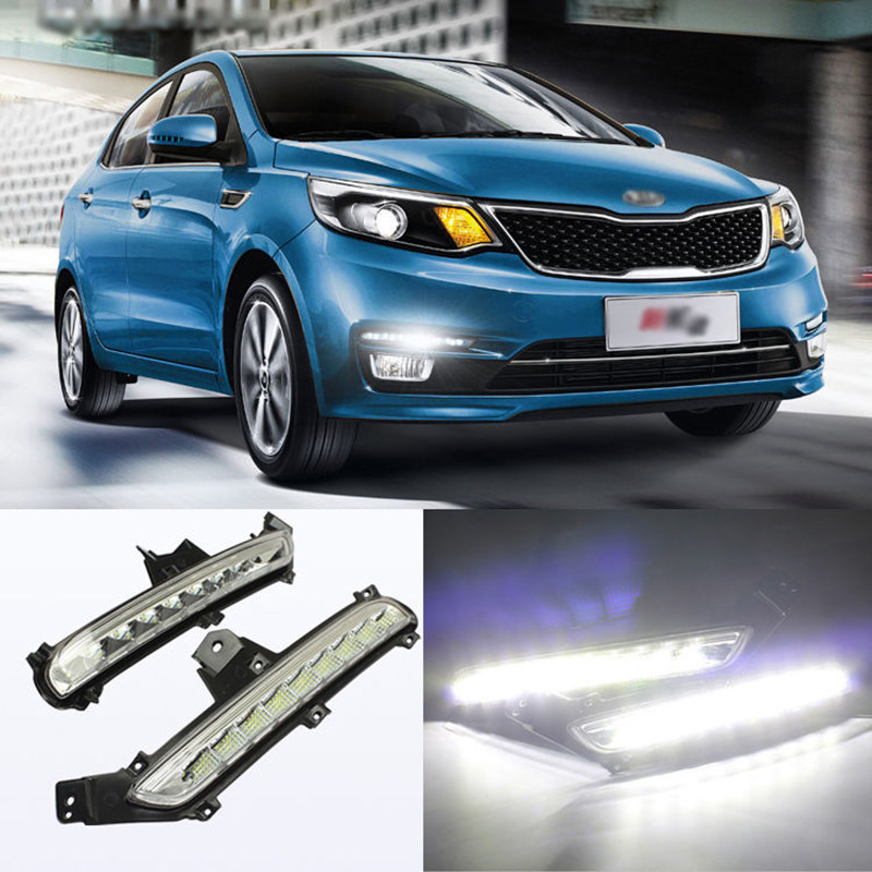 Car LED Light Guide Daytime Running Lights DRL Front Fog Lamp Turn Signal Light With Yellow Steering Mode for KIA K2 Rio 2015~ON