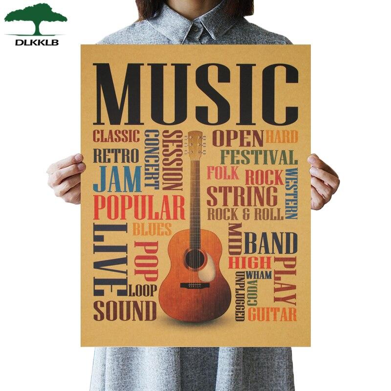 DLKKLB Music Guitar A Style Poster Classic Nostalgic Vintage Kraft Paper Poster Bedroom Living Room Wall Sticker Bar Cafe Decor