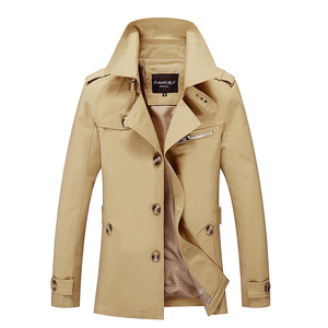 Image 2 - Men Military Cargo Jackets Business Casual Long Cotton Trench Coat Jacket Men Brand Classic Iconic Trench Breasted Overcoat Men