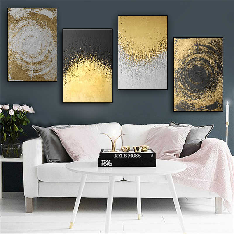 Abstract Golden Circles Modern Contemporary Posters and Prints Canvas Painting Scandinavian Art Wall Picture For Living Room
