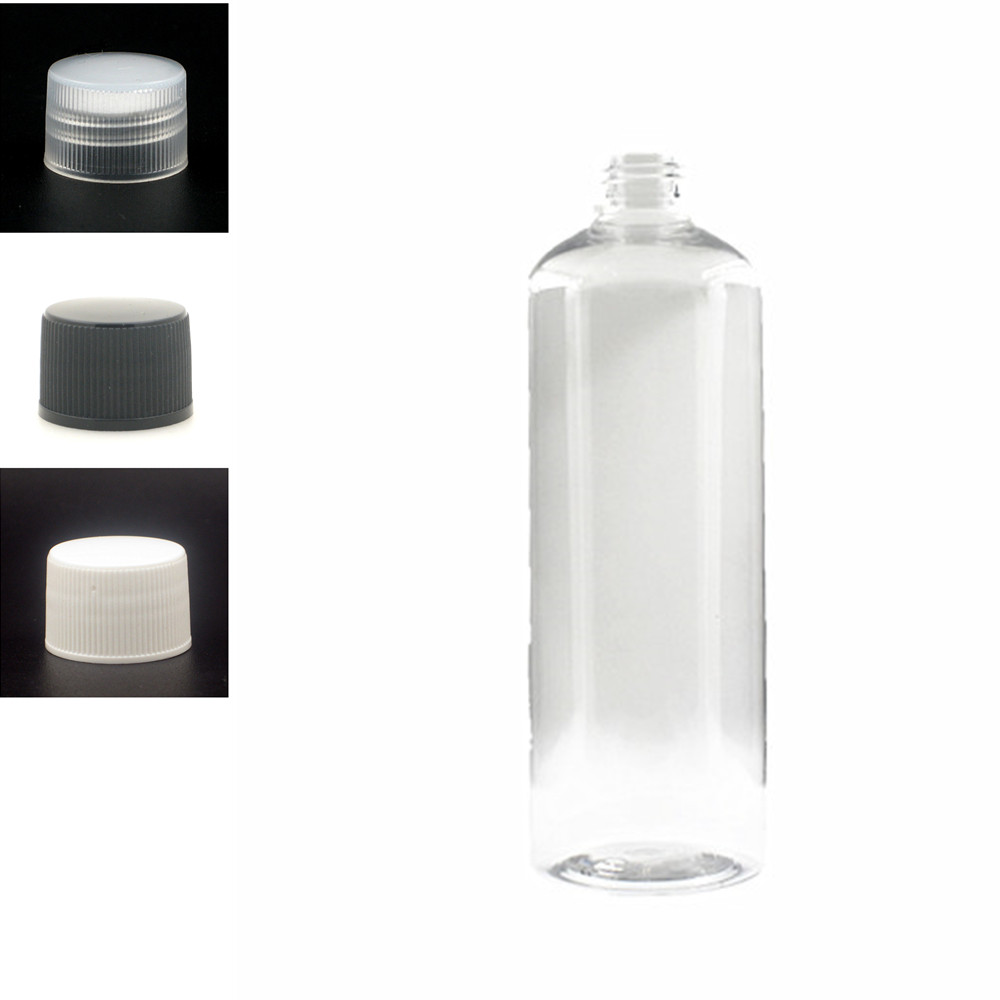 500ml Plastic Non-Dispensing Cap Bottles, Empty Clear PET Bottle With Black/wite/transparent Ribbed Screw Cap