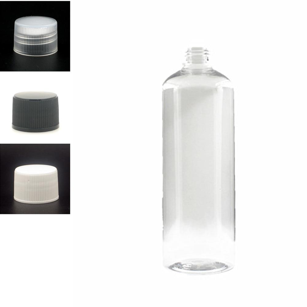 500ml Plastic Non-Dispensing Cap Bottles, Empty Clear PET Bottle With Black/wite/transparent Ribbed Screw Cap