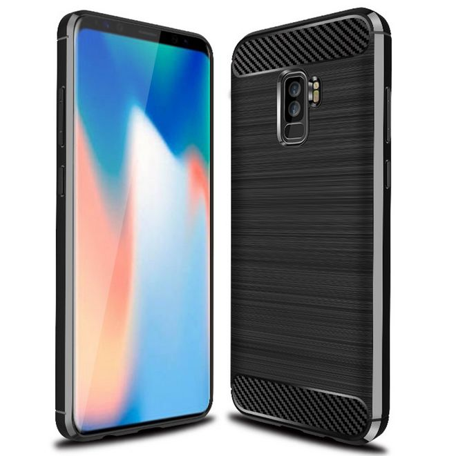 100pcslot gligle carbon fibre brushed TPU silicon case cover for Samsung Galaxy S9 Plus case protective shell