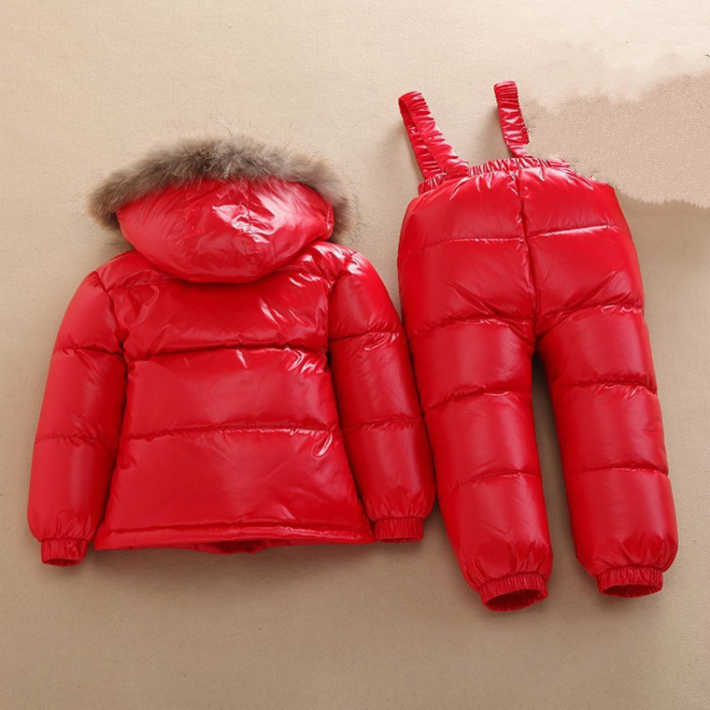 Russian Winter Warm Baby Baby Boys Girls Snowsuit Chidren Duck Down Coats Jacket with Fur Hood Thick Kids Ski Snow Suit Clothes