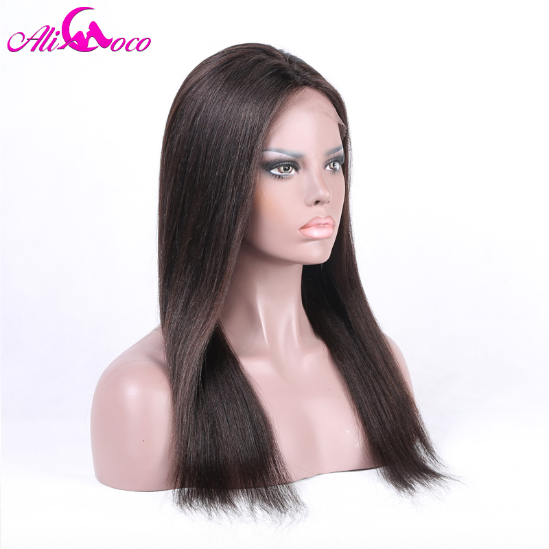 Ali Coco Brazilian 4*4 Straight Lace Front Wig With Baby Hair 8 28 Inch 150% Density Natural Color 100% Remy Human Hair Wigs-in Human Hair Lace Wigs from Hair Extensions & Wigs    2