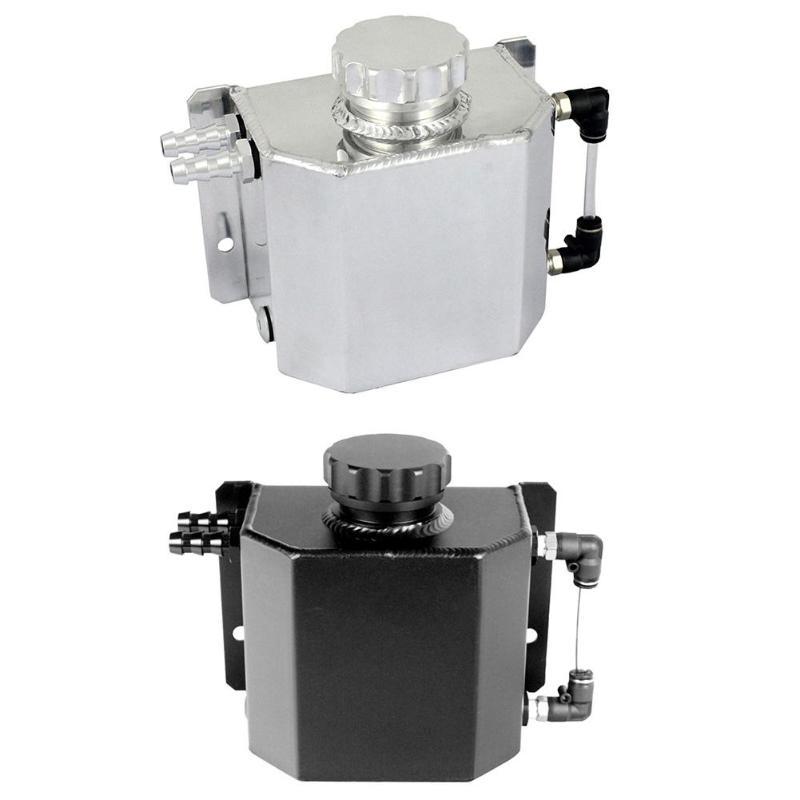 Universel 1000 mL aluminium voiture Auto bouchon d'huile peut réservoir réservoir avec bouchon de vidange argent/noir Auto intérieur pièces