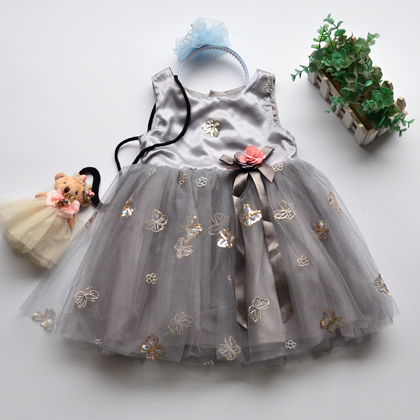 6260 Butterfly Sequins Princess Toddler Baby Girls Dress Summer Wedding Party Kids Dresses For Girls Wholesale baby girl clothes