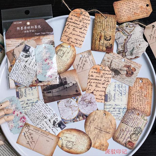 30 pc Vintage Puede escribir notas retro Rosa registro tarjeta collage etiqueta decorativa papel etiqueta DIY Scrapbooking/equipaje etiqueta/marcador