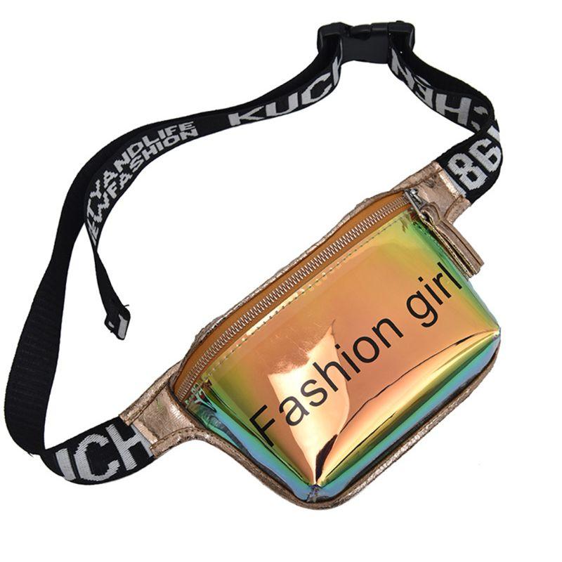 THINKTHENDO Premium Fashion Women Holographic Waist Fanny Pack PVC Zipper Belt Bag Pouch Travel Hip Bum Bag Small Purse
