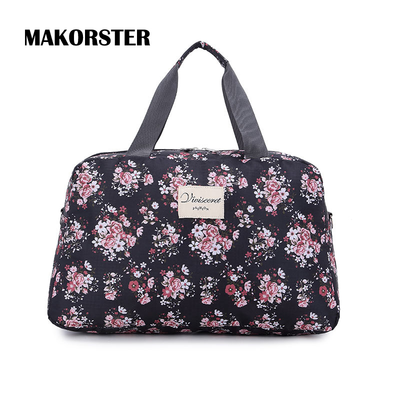 Aliexpress.com  Buy MAKORSTER Portable Fashion Women Travel Bag Weekend Nylon Floral Duffle Bag ...