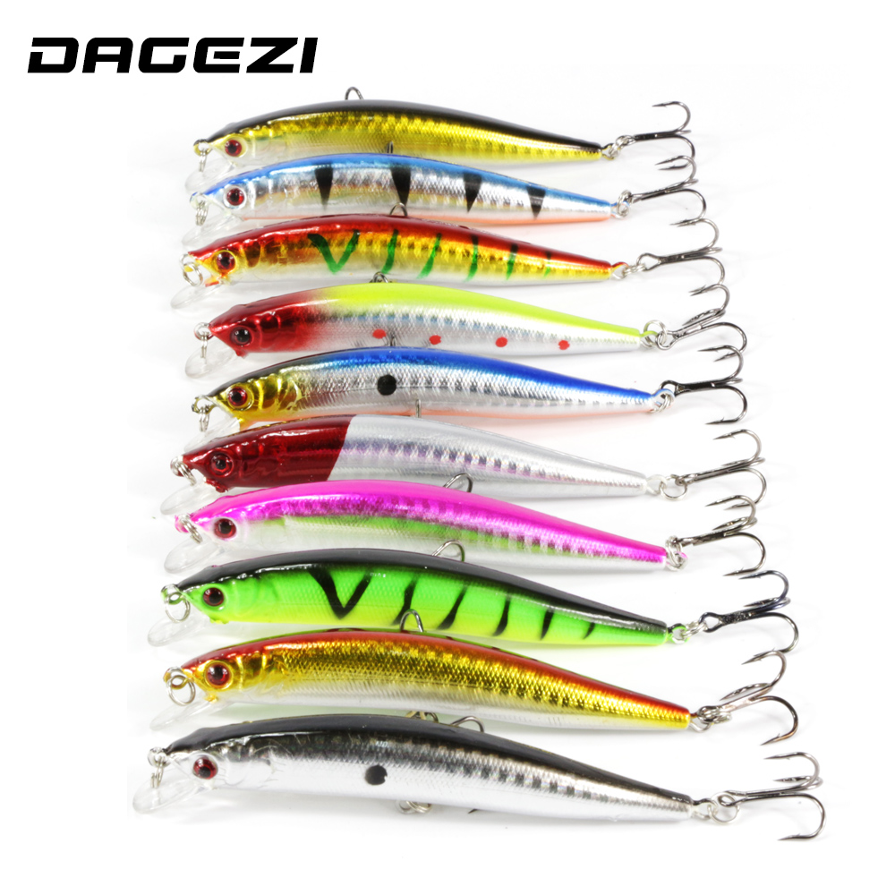 DAGEZI 10pcs/lot 9cm 8.5 g Fishing Lure Minnow Hard Bait with 2 Fishing Hooks Fishing Tackle Lure 3D Eyes Crankbait Minnows wldslure 1pc 54g minnow sea fishing crankbait bass hard bait tuna lures wobbler trolling lure treble hook