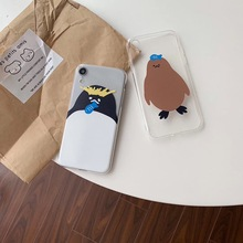 INS cute animal fun design fresh penguin phone case For iphone Xs MAX XR X 6 6s 7 8 plus couple clear soft TPU back Cover Fundas