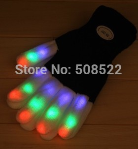 Engros - 200pairs / lot Blinkende Fingertip Light LED Hansker Votter - Fest utstyr