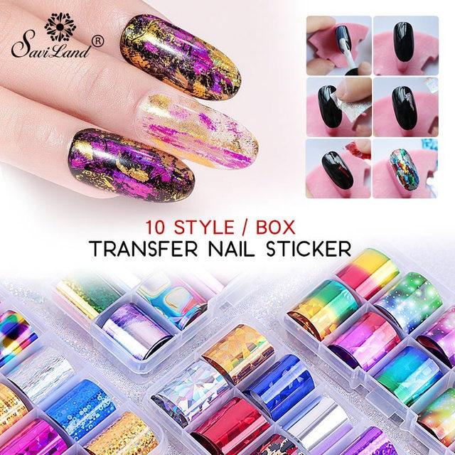 Saviland DIY Nagel Aufkleber Dekoration Tipps Holographische Nagel Folie Set Nail art Transfer Aufkleber 2,5*100 cm Maniküre für nagel