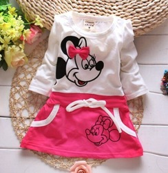 Novas Crianças vestido da menina do bebê bonito dos desenhos animados crianças Vestir Roupas de bebê, meninas encantadoras vestido, arco vestidos infantis do bebê recém-nascido menina