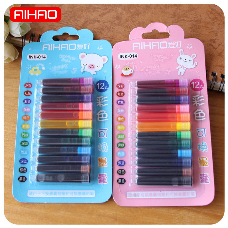 AIHAO 12 Colors/lot Disposable Ink Sac Cartridge Refills For Fountain Calligraphy Pen Office School Supplies Creative Stationery