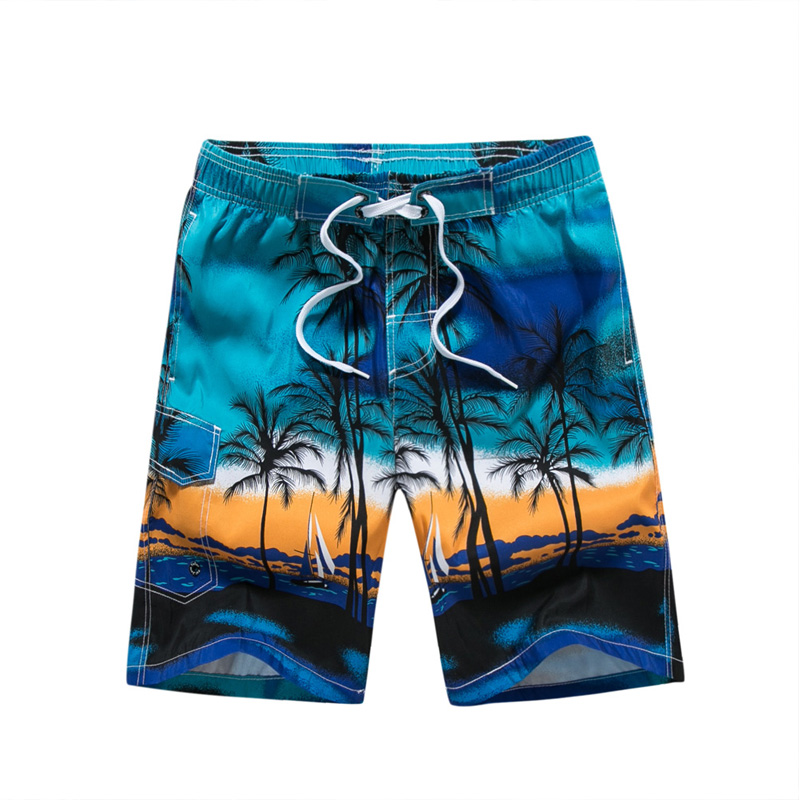 Hawaiian Men   Board     Shorts   Swimwear Printed Polo Swimsuits Men's Trunks Beach   Shorts   Brand Polyester Quick Dry Male Boardshorts