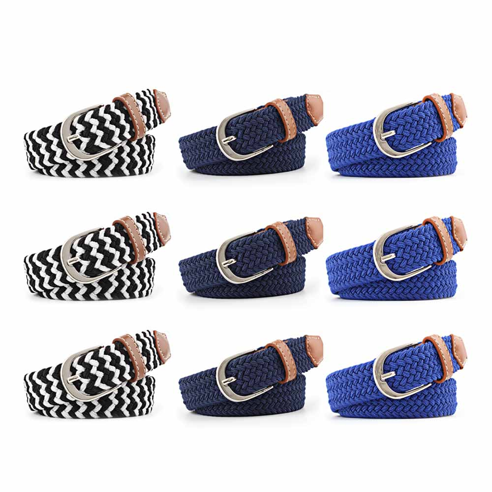 Ladies Elastic Waistband Adjustable Decorative Waist Belt Canvas With Buckle Braided Waist Band Woven Stretch Straps For Women