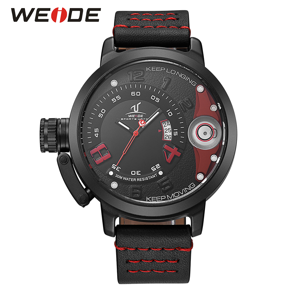 WEIDE Analog Day Display Black Red Leather Band Strap Stainless Steel Back Case Hardlex Men Fashion Sport Quartz Wrist Watch часы мужские из серебра ника 84424