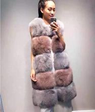 Women natural fox fur vest vintage elegant waistcoat luxury 100% genuine fur long vests patchwork full pelt gilet