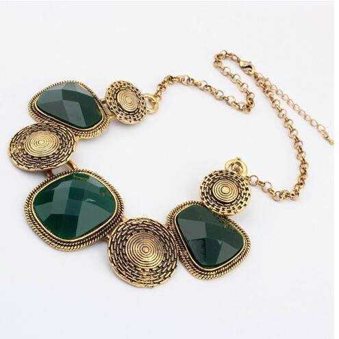 Vintage luxe Palace déclaration colliers rétro strass géométrique gros gemme colliers et pendentifs bijoux pour femmes cadeau fête
