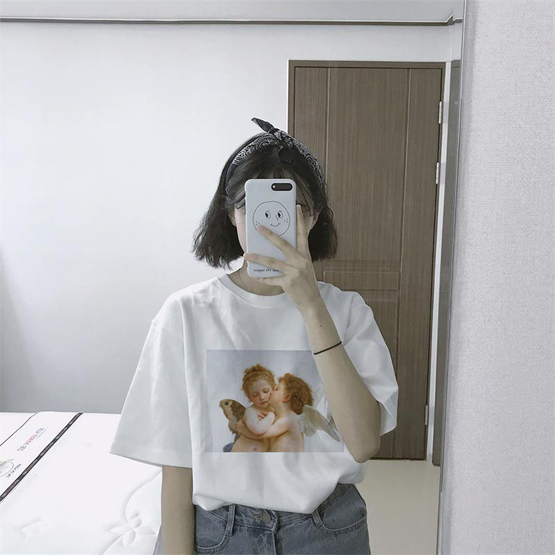 Fashion Kawaii Angel Printed Women t shirts 2018 Summer Loose Short Sleeved  O-neck Casual Clothing Pink Vogue Tumblr Tops Tee  1