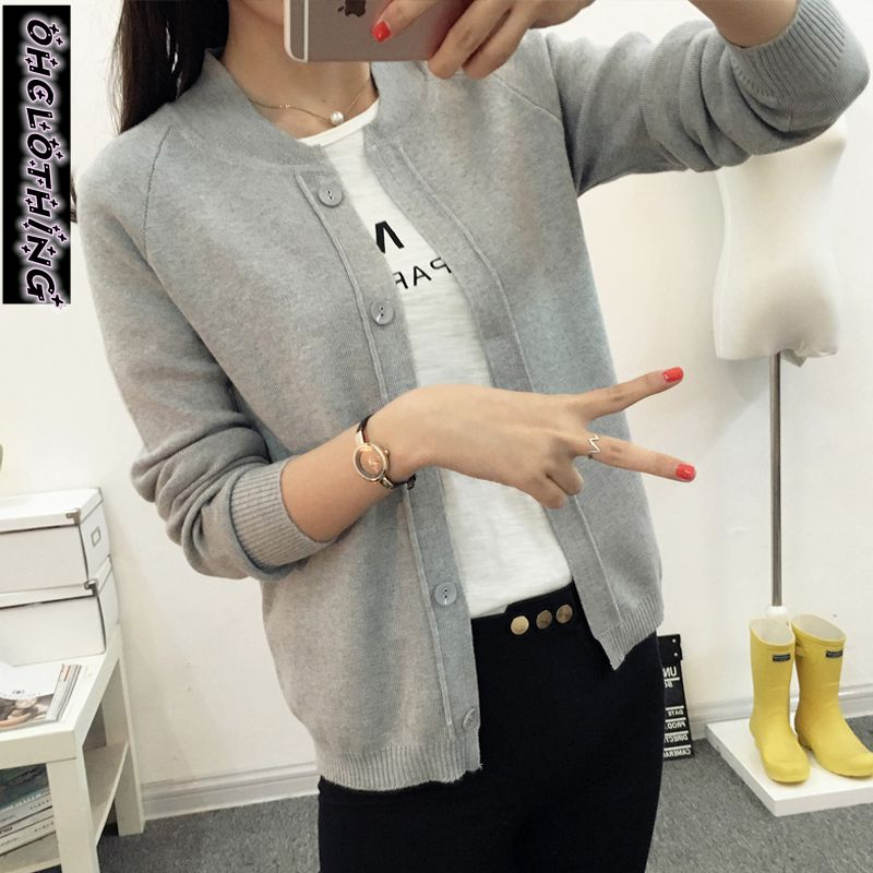 OHCLOTHING New spring summe 2019 female knit cardigan sweater coat short female a little shawl knitted jacket female 12 color(China)