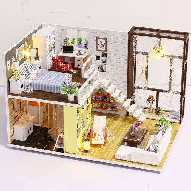 Doll House Furniture Diy Toy Miniature Doll Wooden House Loft With Kitchen  Bedroom And Bathroom Best