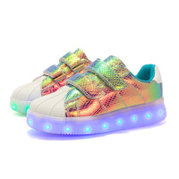 BABAYA Super Star Colorful Leather Children Led Light Shoes USB Charge Boys Girls Luminous Sneakers Sports Running Shoes 1728
