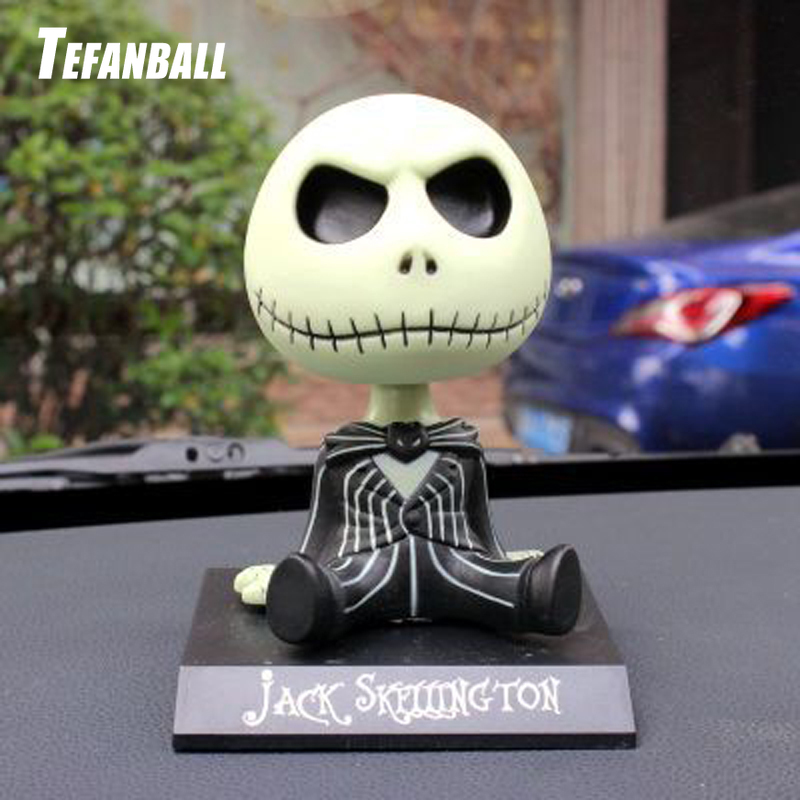 Car Ornaments Jack Skeleton Action Figure Shaking Head Doll Dashboard Decoration The Nightmare Before Christmas jack Toys New-in Ornaments from Automobiles & Motorcycles