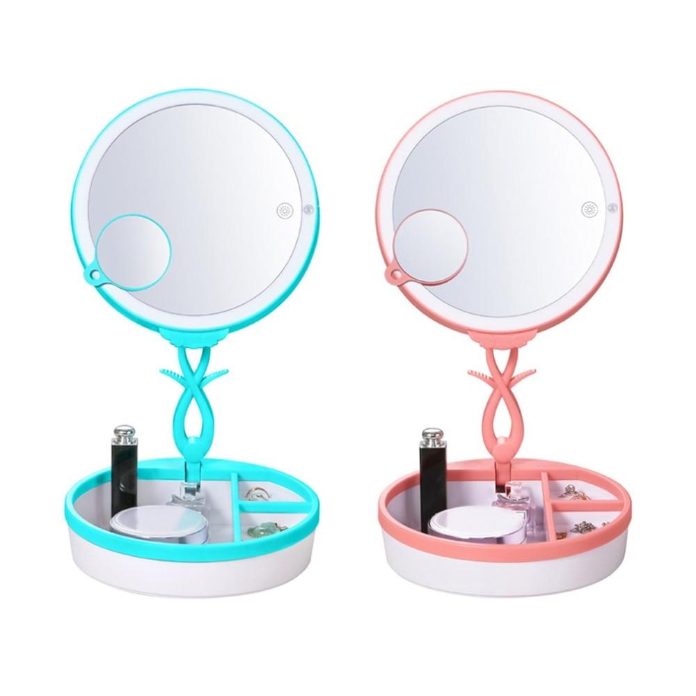 Portable Mirrors bedside lamp Sensor Infrared LED Night Light USB Charging Bedroom Desktop Light Jewelry box Table Lamps