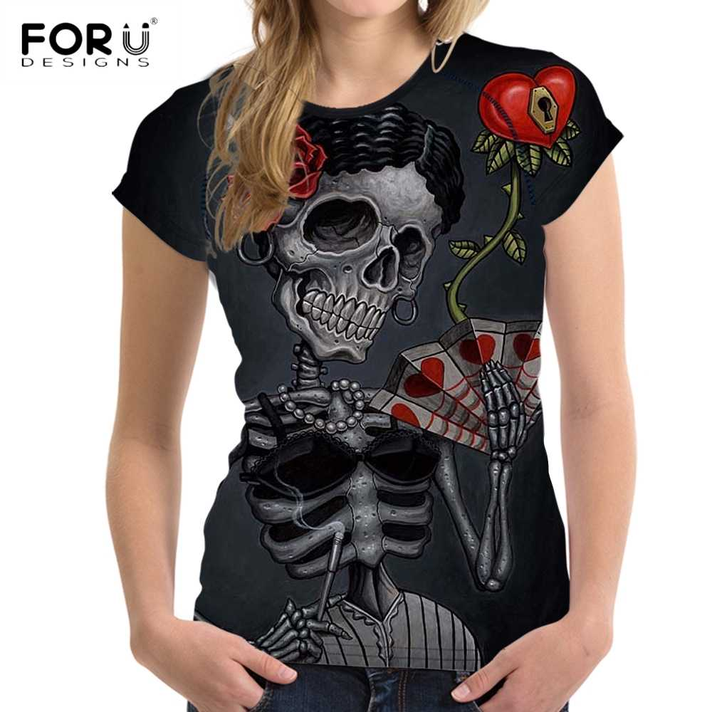 FORUDESIGNS Punk Skull Bride Print Women Summer T Shirts 3D Short Sleeve Top Tee Clothing Fitness O Neck T-shirts for Teen Girls
