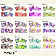 YZWLE New Color Flowers Style Nail Art Water Decals Transfer Stickers Splendid Water Decals Sticker, 28 Available(YZW(D-1398)28)