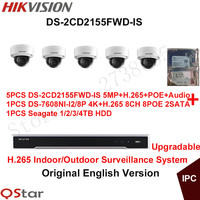 Hikvision Original English H 265 CCTV System 5pcs DS 2CD2155FWD IS 5MP H 265 IP Camera