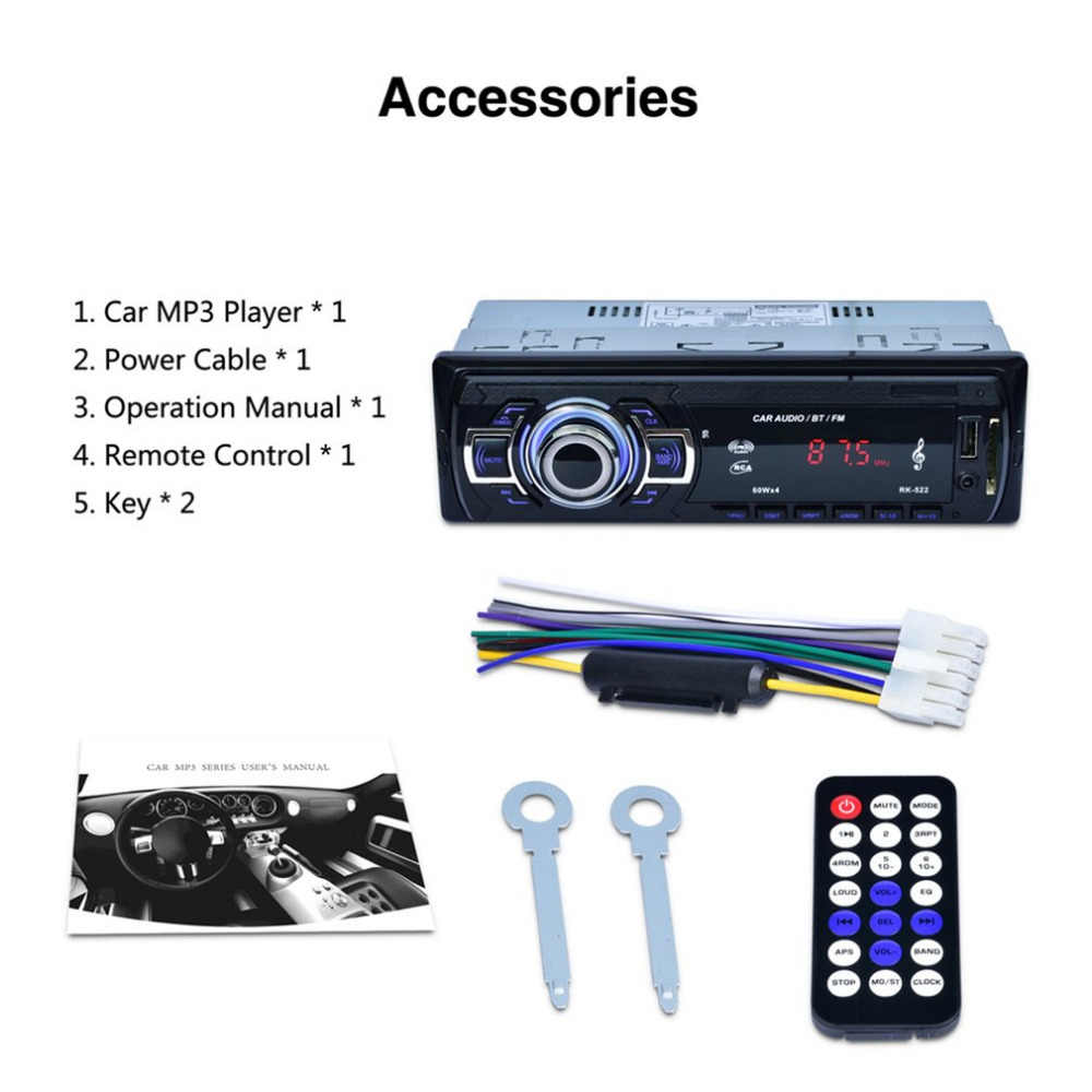 RK-522 Car DVD SD Card Reader USB Car MP3 Player With Bluetooth Panel on