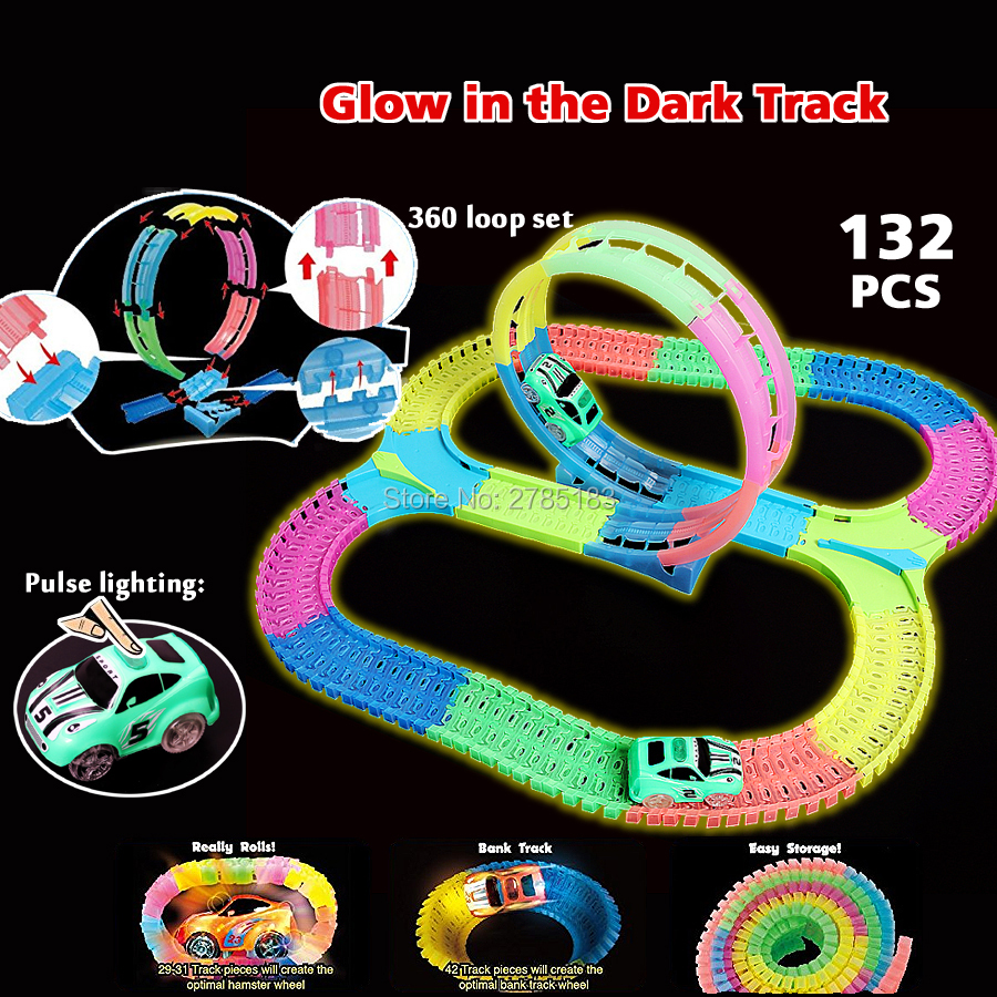 360 stunt loop Bend Flex Slot DIY Glow electric race track glows in the dark with LED Car Puzzle Educational Toys for children