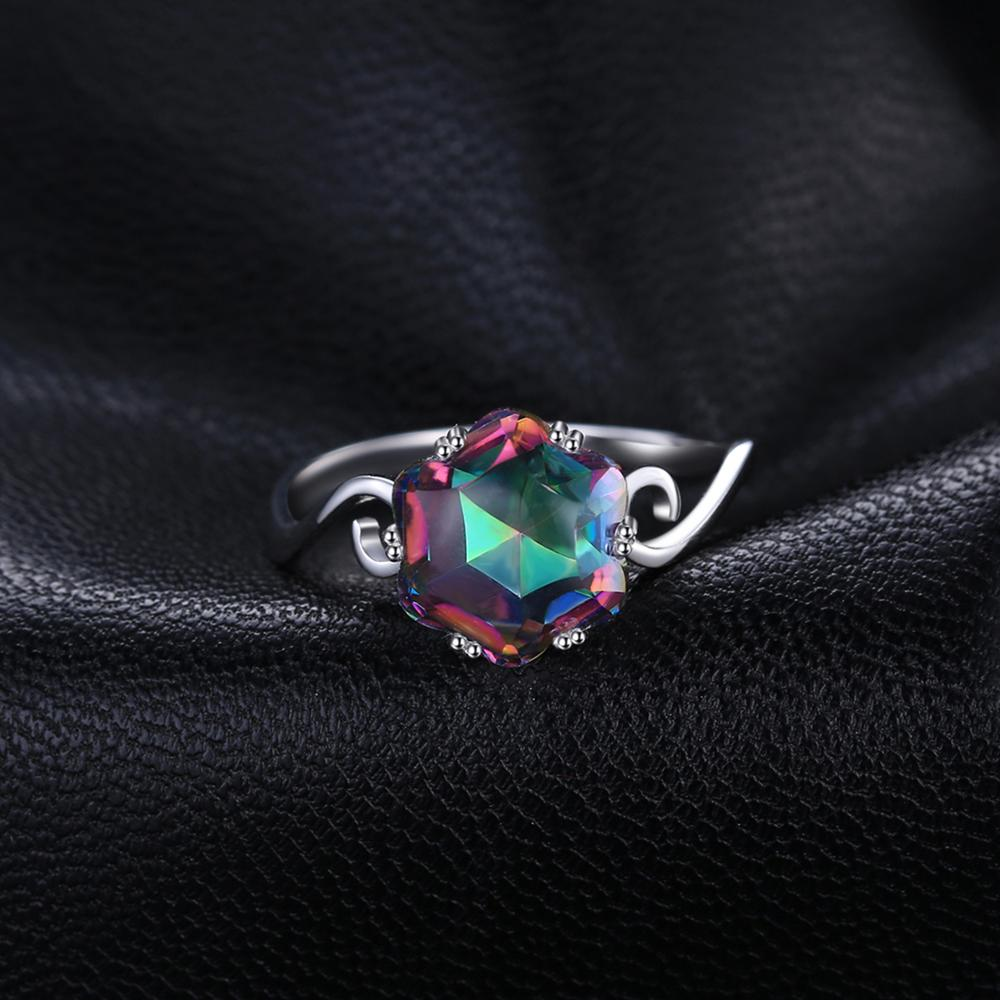 JewelryPalace 3.2ct Genuine Rainbow Fire Mystic Topaz Quartz Ring 925 Sterling Silver Rings Gemstone Ring Fine Jewelry For Women 1