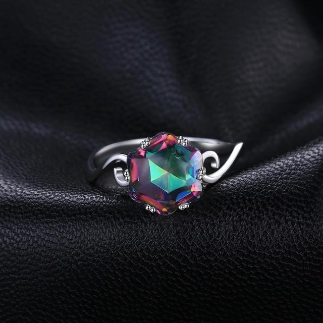 JewPalace 4ct Genuine Rainbow Mystic Topaz Ring 925 Sterling Silver Rings for Women Engagement Ring Silver 925 Gemstones Jewelry 1