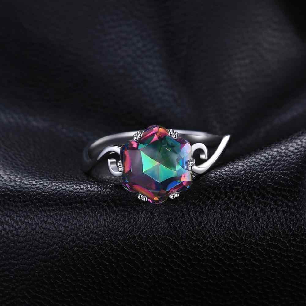 JewPalace 4ct Original Regenbogen Mystic Topaz Ring 925 Sterling Silber Ringe für Frauen Engagement Ring Silber 925 Edelsteine Schmuck