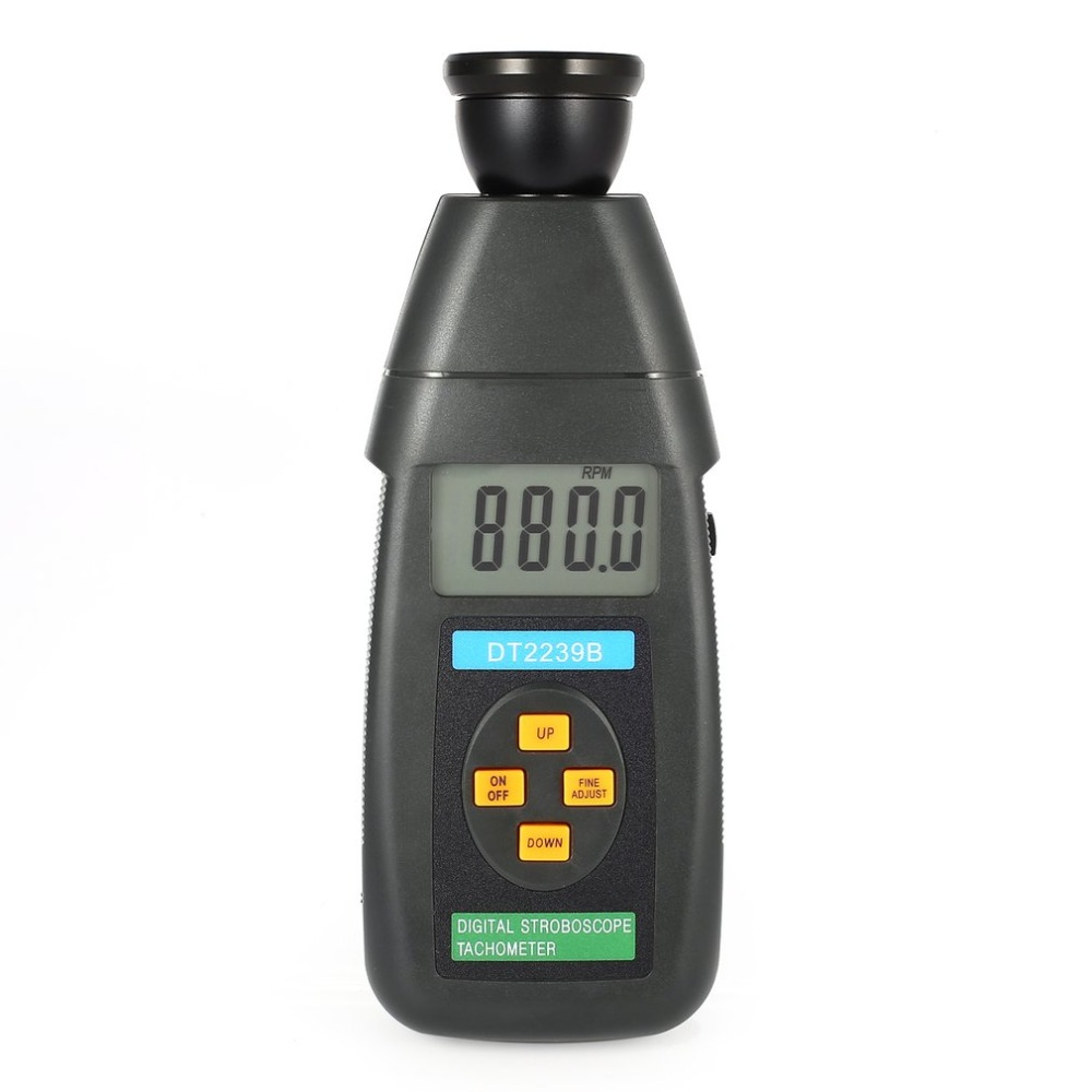 DT2239B Digital LCD Non-Contact Flash Stroboscope Tachometer Photoelectric Revolution Meter Speedometer Tester 60~19999RPM hot sale professional digital non contact stroboscope dm6237p flash frequency meter 60 19 999 rpm per minute tachometer tester