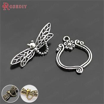 (26903) 10 zestawów, Antique Silver Plated bransoletka ze stopów klamrami Dragonfly przełącz klamrami ocena biżuteria akcesoria hurtownie